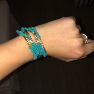 Set of 10 Gold and Turquoise Bracelets
